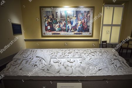 The 'Sarcophagus of Jonah,' (bottom) which workers discovered in the 16th century while building St. Peter's Basilica in Rome, on display at the newly built Museum of the Bible in Washington, DC, USA, 14 November 2017. Largely funded by the wealthy family of Hobby Lobby founder David Green, the 500 million USD (428 million Euro) museum houses about 1,000 biblical artifacts. In July, Hobby Lobby agreed to pay the US government 3 million USD (2.5 million Euros) in fines for smuggling ancient artifacts out of Iraq and into the United States.