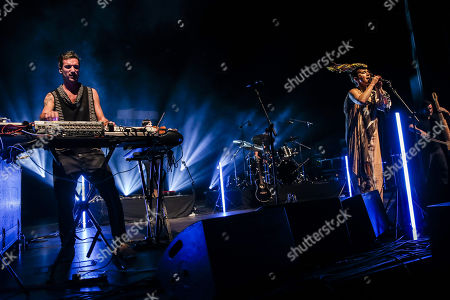 Lou Rhodes and Andy Barlow (L) of British electronic music duo Lamb,  perform live at the Lisbon Coliseum as part of their 'Twenty One' Tour,  Lisbon, Portugal, 14 November 2017.