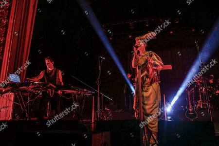 Stock Image of Lou Rhodes and Andy Barlow (L) of British electronic music duo Lamb,  perform live at the Lisbon Coliseum as part of their 'Twenty One' Tour,  Lisbon, Portugal, 14 November 2017.