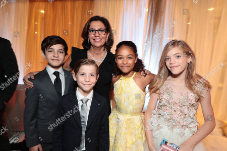 Stock Photo of Bryce Gheisar, Jacob Tremblay,, R.J. Palacio, Author/Executive Producer, Millie Davis, Elle McKinnon