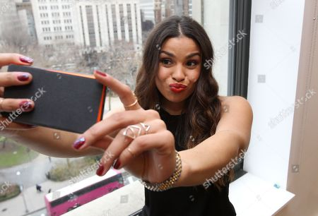 Singer Jordan Sparks caught taking a selfie with her Lumia 830 while promoting the #MakeitHappen campaign in New York on