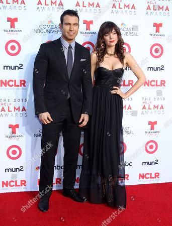 David J. Phillips and Mia Mastroianni arrive at the NCLR ALMA Awards at the Pasadena Civic Auditorium, in Pasadena, Calif