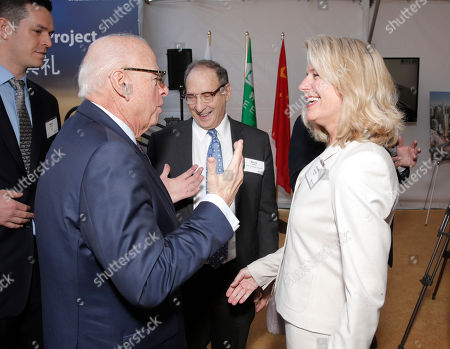 Stock Image of Douglas Elliman Real Estate's Howard Lorber, Forest City Ratner Companies' Bruce Ratner and AECOM's Rhonda Brauer attend Douglas Elliman Real Estate's Celebration of Groundbreaking for Metropolis Los Angeles, on Friday, Feb 14th, 2014 in Los Angeles