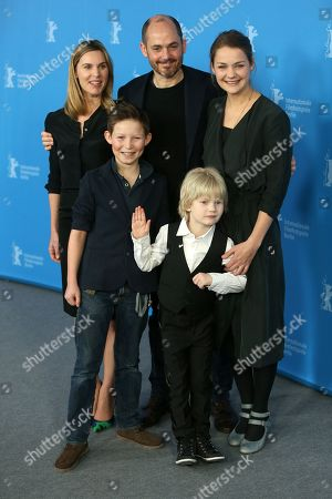 Stock Picture of From left, screenwriter Nele Mueller-Stoefen, Edward Berger, Luise Heyer, Ivo Pietzcker and Georg Arms pose for photographers at the photo call for the film Jack during the International Film Festival Berlinale in Berlin