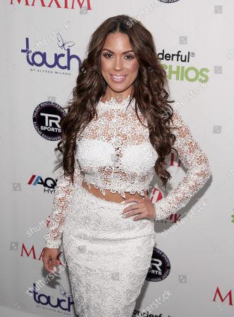 Fashion model Carissa Rosario attends the Maxim Magazine Super Bowl Party on in New York