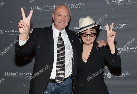 Hard Rock International President and CEO Hamish Dodds, left, poses backstage with Yoko Ono after receiving the Spirit of Excellence Award at the T.J. Martell Foundation's 39th Annual New York Honors Gala at Cipriani 42nd Street on in New York