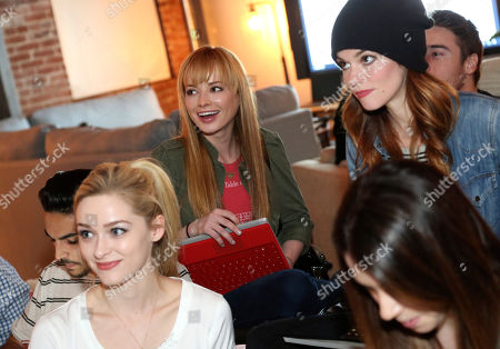 "Greer Grammer, from left, Ashley Rickards, and Rachel Melvin attend the ""Awkward"" live tweet event at The Microsoft Lounge, in Venice, Calif"