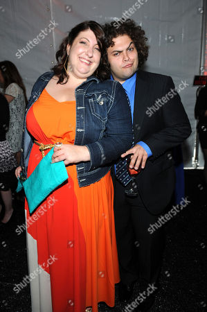 NEW YORK, CA - MAY 13: Dustin Ybarra and Ashlie Atkinson is seen in the green room at the 2013 FOX Programming Presentation at Citrus Restaurant on in New York, New York