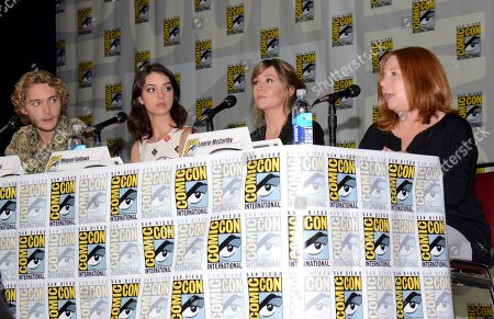 "Stock Picture of From left, Toby Regbo, Adelaide Kane, Megan Follows and Laurie McCarthy attend the ""Reign"" panel on Day 1 of Comic-Con International, in San Diego"