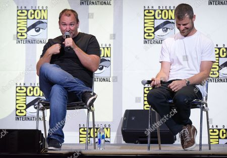 "Trey Parker, left, and Matt Stone attend the ""South Park"" panel on day 2 of Comic-Con International, in San Diego"