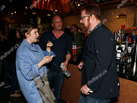 """Lena Dunham and RJ Cutler are seen at the A&E IndieFilm's """"The Imposter"""" Screening Presented by the IDA at Sundance Sunset Theater, in Los Angeles"""