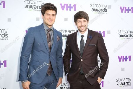 "Anthony Padilla, left, and Ian Andrew Hecox arrive at the 5th Annual Streamy Awards at the Hollywood Palladium in Los Angeles. YouTube's top-earning celebrity is Felix Kjellberg, better known by his handle ""PewDiePie,"" a 25-year-old video-game-playing jokester who took in $12 million in the year ending June 1, 2015. Kjellberg tops Forbes Magazine's first list of people who have spun short online videos into huge piles of cash. Two acts tied for second on Forbes' list, both earning $8.5 million: comedy prankster duo Smosh â?"" Hecox and Padilla â?"" and the Fine Brothers, Benny and Rafi Fine"