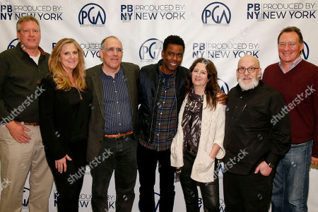 Chris Moore, from left, Lori McCreary, William Horberg, Chris Rock, M. Blair Breard, Stuart Cornfeld, and Gary Lucchesi seen at Produced By: New York 2016 at the Time Warner Center on Saturday, October 29th, 2016, in New York City, NY