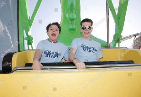 """River Alexander and Liam James go on an amusement park ride for """"The Way Way Back"""" First Day of Summer Kick Off, on Friday, June, 21, 2013 in Santa Monica, California"""