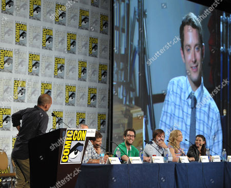 """From left, Dominic Patten, producer David Zuckerman and actors Reed Agnew, Eli Jorne, Jason Gann, Fiona Gubelmann and Dorian Brown attend the FX """"Wilfred"""" panel on Day 2 of Comic-Con International on in San Diego, Calif"""