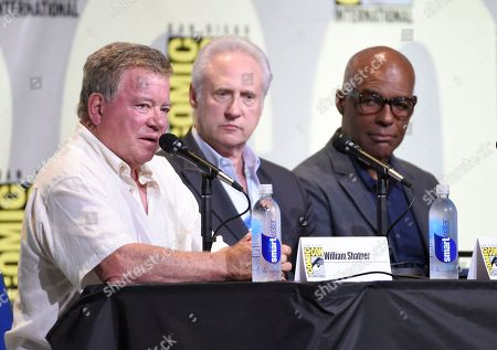 """William Shatner, from left, Brent Spiner, and Michael Dorn attend the """"Star Trek"""" panel on day 3 of Comic-Con International, in San Diego"""