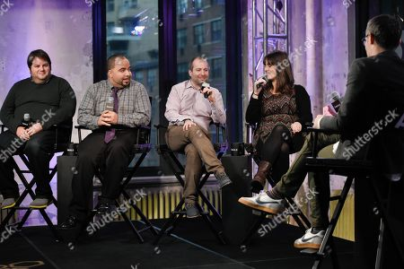 Film critics from left, Marshall Heyman, Clayton Davis, Christopher Rosen, Katey Rich and moderator Ricky Camilleri participate in AOL's BUILD Speaker Series to discuss this year's awards season at AOL Studios, in New York