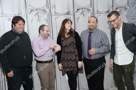 Stock Picture of Film critics from left, Marshall Heyman, Christopher Rosen, Katey Rich, Clayton Davis and moderator Ricky Camilleri participate in AOL's BUILD Speaker Series to discuss this year's awards season at AOL Studios, in New York