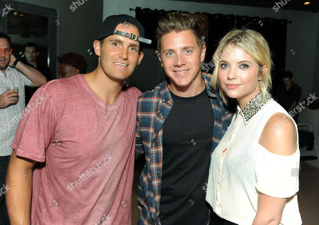 """The Bachelorette"""" winner Jef Holm, center, party host Ashley Benson, right, and Cody Barker attend the Just Dance 4 launch party on in Los Angeles.Â"""