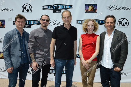 IMAGE DISTRIBUTED FOR PRODUCERS GUILD - From left, Beau Willimon, Kurt Sutter, Marshall Herskovitz, Darlene Hunt and Jason Katims attend the first day of the 2013 Produced by Conference on in Los Angeles