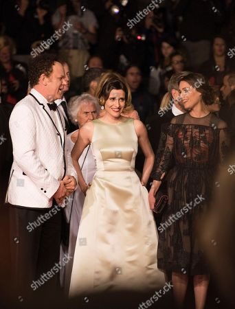 Stock Picture of John C. Reilly, Angeliki Papoulia and Ariane Labed pose for photographers on the red carpet at the screening of the film The Lobster at the 68th international film festival, Cannes, southern France