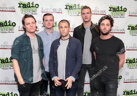 Hugo White, from left, Sam Doyle, Orlando Weeks, Rupert Jarvis and Felix White of the band The Maccabees visit the Radio 104.5 Performance Theater, in Philadelphia