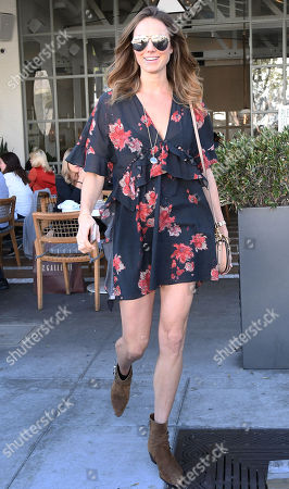 Stacy Keibler leaves a restaurant