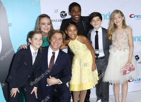 "Jacob Tremblay, Izabela Vidovic, Stephen Chbosky, Millie Davis, Nadji Jeter, Bryce Gheisar, Elle McKinnon. Jacob Tremblay, from left, Izabela Vidovic, director Stephen Chbosky, Millie Davis, Nadji Jeter, Bryce Gheisar, Elle McKinnon arrive at the LA Premiere of ""Wonder"" at the Regency Village Theatre, in Los Angeles"
