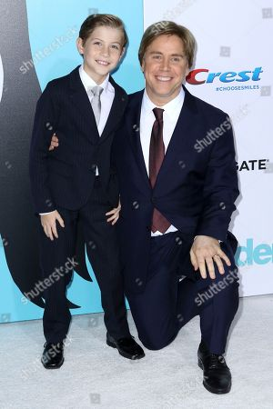 "Jacob Tremblay, Stephen Chbosky. Jacob Tremblay, left, and director Stephen Chbosky arrive at the LA Premiere of ""Wonder"" at the Regency Village Theatre, in Los Angeles"