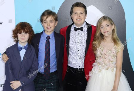 "Kyle Breitkopf, James Hughes, Ty Consiglio, Elle McKinnon. Kyle Breitkopf, from left, James Hughes, Ty Consiglio and Elle McKinnon arrive at the LA Premiere of ""Wonder"" at the Regency Village Theatre, in Los Angeles"