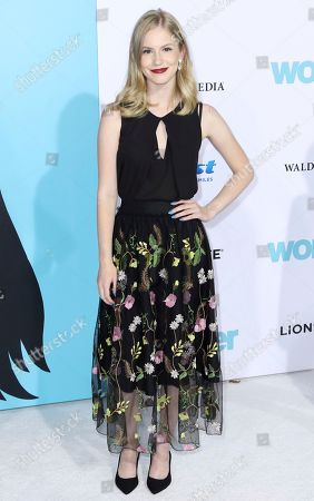 """Stock Image of Erika McKitrick arrives at the LA Premiere of """"Wonder"""" at the Regency Village Theatre, in Los Angeles"""