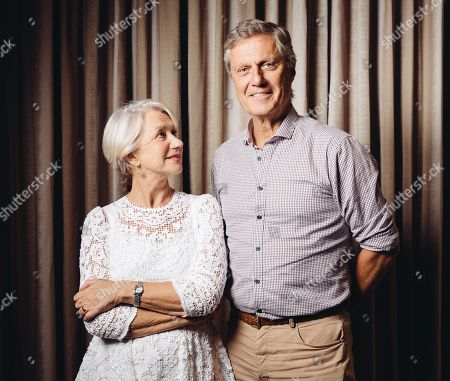 "Helen Mirren and Lasse Halstrom pose for a portrait during press day for ""The Hundred Year Journey"" at The Four Seasons, in Beverly Hills, Calif"