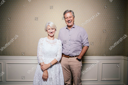 "Helen Mirren and Lasse Halstrom share a laugh during press day for ""The Hundred Year Journey"" at The Four Seasons, in Beverly Hills, Calif"