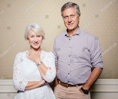 "Stock Photo of Helen Mirren and Lasse Halstrom pose for a portrait during press day for ""The Hundred Year Journey"" at The Four Seasons, in Beverly Hills, Calif"
