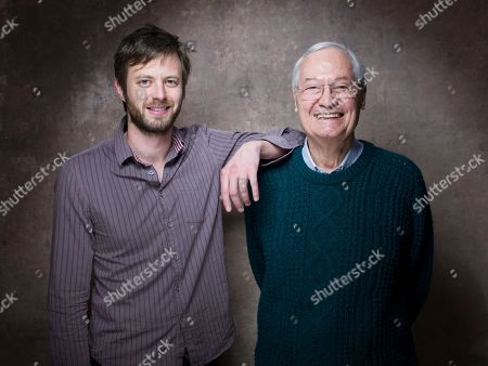 """From left, director G.J. Echternkamp and producer Roger Corman from the film """"Virtually Heroes"""" pose for a portrait during the 2013 Sundance Film Festival on in Park City, Utah"""