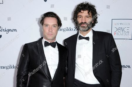Rufus Wainwright, left, and Jorn Weisbrodt attend the 2016 LA Dance Project Annual Gala at the Theatre at Ace Hotel, in Los Angeles