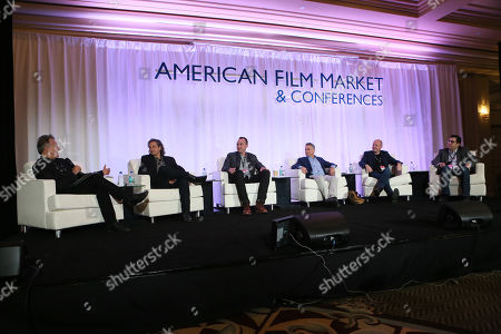 Russell Schwartz, and from left, Richard Abramowitz, Nicolas Gonda, Adam Leipzig, Sam Toles and Dylan Wiley attends the 2014 American Film Market (AFM) Distribution Conference at the Fairmont Hotel on Tuesday, Nov. 11, in Santa Monica, Calif