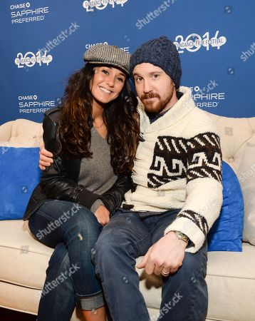 """Actors Emmanuelle Chriqui and Sam Huntington from the film """"Three Night Stand"""" visit Chase Sapphire on Main Street during the Sundance Film Festival on in Park City, Utah"""