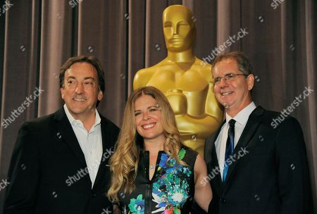"The ""Frozen"" producer Peter Del Vecho, left, and the film's co-directors Jennifer Lee and Chris Buck, presenters at the 41st Student Academy Awards, pose together before the ceremony at the Directors Guild of America on in Los Angeles"