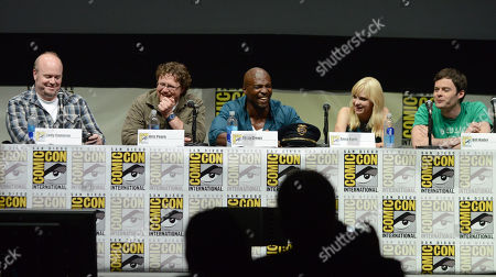 """From left, Cody Cameron, Kris Pearn, Terry Crews, Anna Faris, and Bill Hader attend the """"Cloudy with a Chance of Meatballs 2"""" panel on Day 3 of Comic-Con International on in San Diego, Calif"""