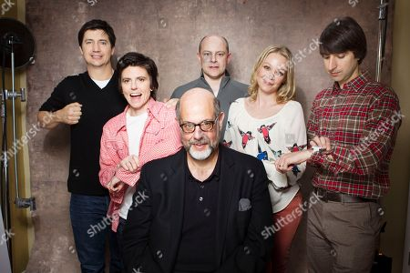 "Actors, from left, Ken Marino, Tig Notaro, Rob Corddry, Fred Melamed, Alexandra Holden and Demetri Martin from the film ""In A World"" pose for a portrait during the 2013 Sundance Film Festival on in Park City, Utah"