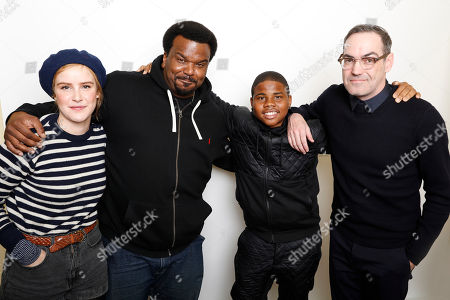 "From left, actors Carla Juri, Craig Robinson, and Markees Christmas pose with filmmaker Chad Hartigan for a portrait to promote the film, ""Morris From America"", at the Toyota Mirai Music Lodge during the Sundance Film Festival on in Park City, Utah"