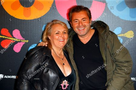 Valerie Damidot and Jerome Anthony pose for the premiere of Disney Pixar's 'Coco' at Le Grand Rex, in Paris