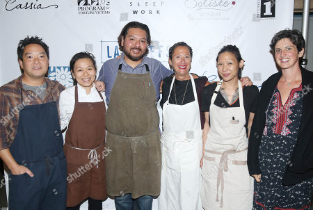 From left, chefs Bryant Ng, Niki Nakayama, Ray Garcia, Nancy Silverton, Liz Hong, and Zoe Nathan pose for a photo at LA Chefs for Human Rights at Cassia in Santa Monica, Calif. on