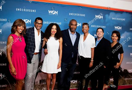 "Shaun Robinson, Alano Miller, Jurnee Smollett-Bell, Mike Jackson, Misha Green, Joe Pokaski, Amirah Vann, seen at the First-Look Screening and Panel Discussion for WGN America's ""Underground"" at the National Civil Rights Museum, on in Memphis, Tenn"