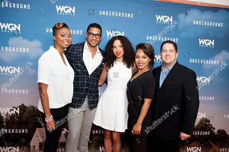 "From left, Misha Green, Alano Miller, Jurnee Smollett-Bell, Amirah Vann and Joe Pokaski seen at the first-look screening and panel discussion for WGN America's ""Underground"" at the National Civil Rights Museum, on in Memphis, Tenn"