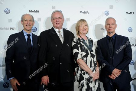 IMAGE DISTRIBUTED FOR MoMA - Glenn D. Lowry, left, Director, Museum of Modern Art, Dr. Martin Winterkorn, second left, Chairman of the Board of Directors of Volkswagen Group of America, Inc. and Chairman of the Board of Management of Volkswagen Aktiengesellschaft, Wendy Woon, The Edward John Noble Foundation Deputy Director of Education, MoMA, and Klaus Biesenbach, Director, MoMA PS1 and Chief Curator at Large, MoMA, pose for a photo after announcing an expanded, two-year partnership between The Museum of Modern Art, MoMA PS1 and Volkswagen Group of America at The Museum of Modern Art, in New York