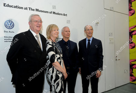 IMAGE DISTRIBUTED FOR MoMA - Dr. Martin Winterkorn, left, Chairman of the Board of Directors of Volkswagen Group of America, Inc. and Chairman of the Board of Management of Volkswagen Aktiengesellschaft, Wendy Woon, The Edward John Noble Foundation Deputy Director of Education, MoMA, Klaus Biesenbach, Director, MoMA PS1 and Chief Curator at Large, MoMA, and Glenn D. Lowry, right, Director, Museum of Modern Art, pose for a photo after announcing an expanded, two-year partnership between The Museum of Modern Art, MoMA PS1 and Volkswagen Group of America at The Museum of Modern Art, in New York