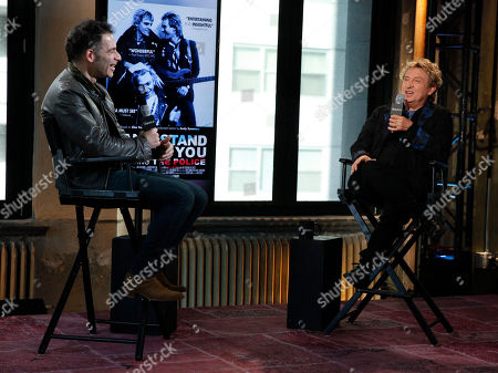 """Stock Image of Joe Levy, left, and Andy Summers, right, participate in AOL's BUILD Speaker Series to discuss the new documentary """"Can't Stand Losing You"""" at AOL Studios, in New York"""