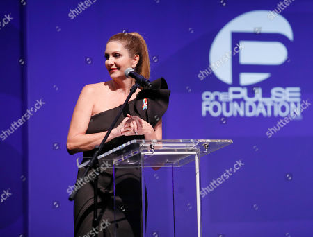 Barbara Poma speaks at onePULSE: A Benefit for Orlando at NeueHouse Hollywood, in Los Angeles